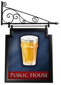 Isolated pub sign — Stock Photo