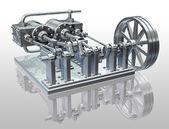 Twin cylinder steam engine — Stock Photo