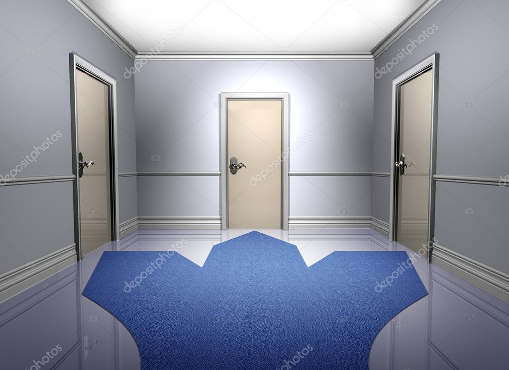 Illustration of three doorways representing a decision to be made  Stock Photo #2231115