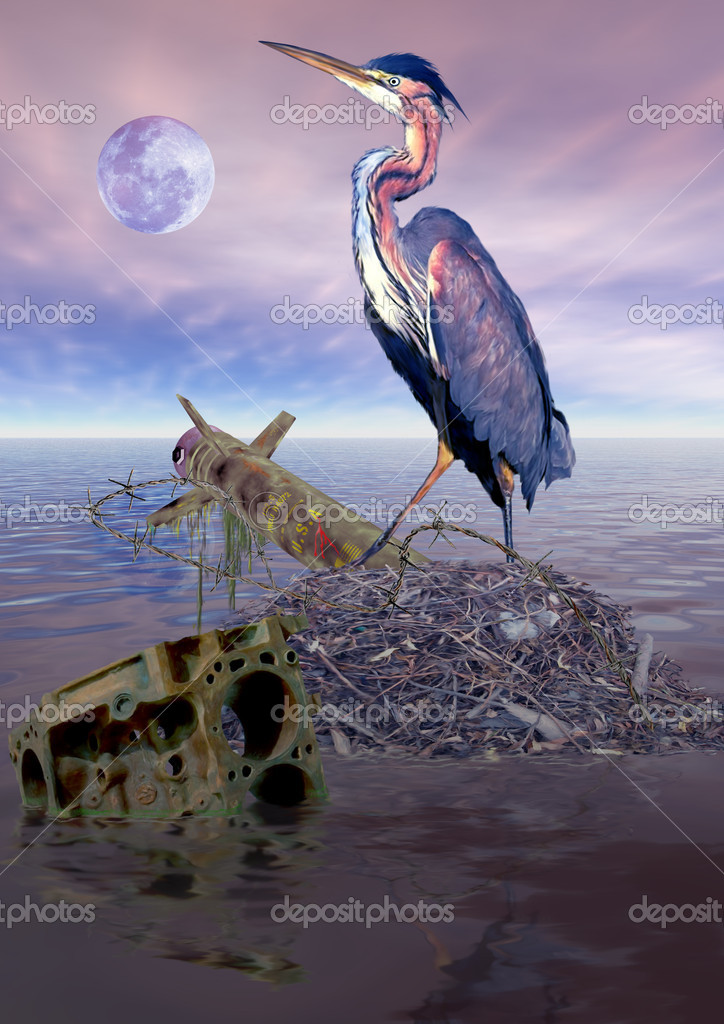 Heron has just rebuilt its nest in the aftermath of a war — Stock Photo #2233284