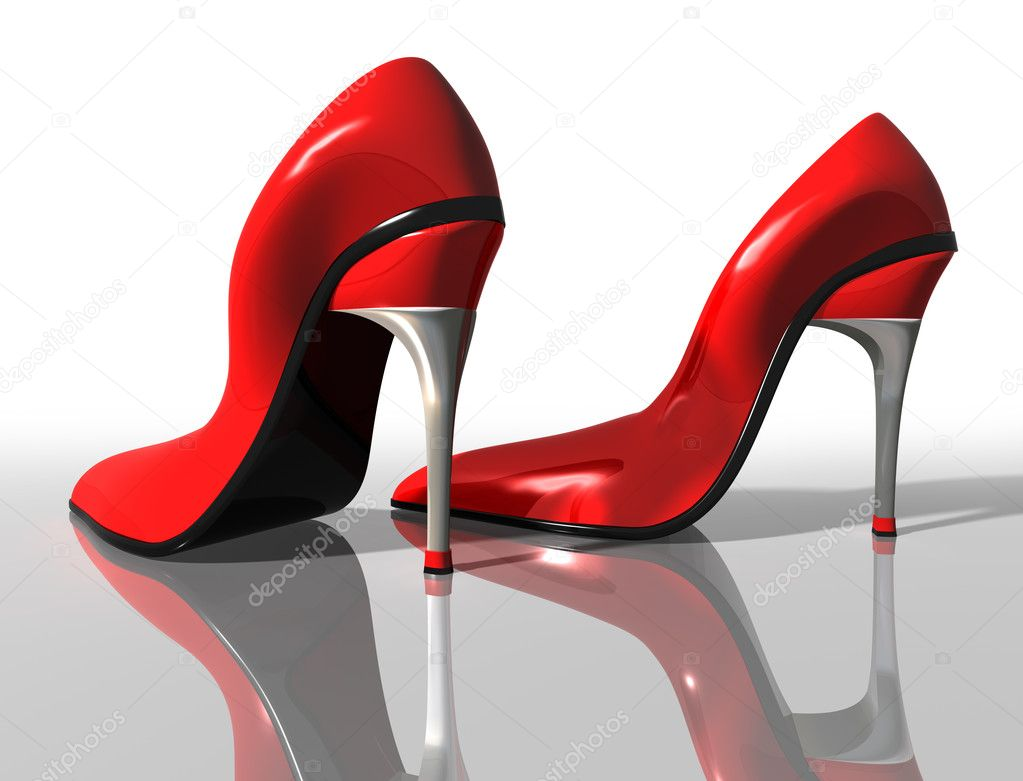 Illustration of a pair of elegant red high heel shoes — Stock Photo #2233294