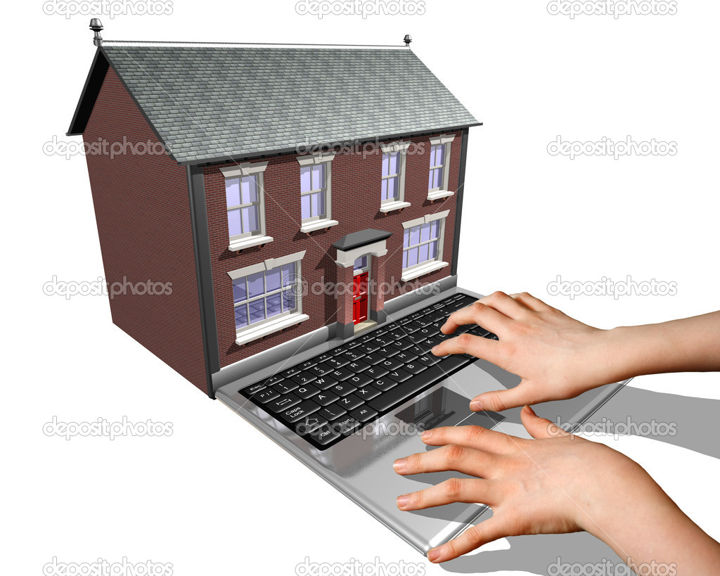 A laptop merged into a house representing the buying of a new home on the Internet. — Stock Photo #2233749