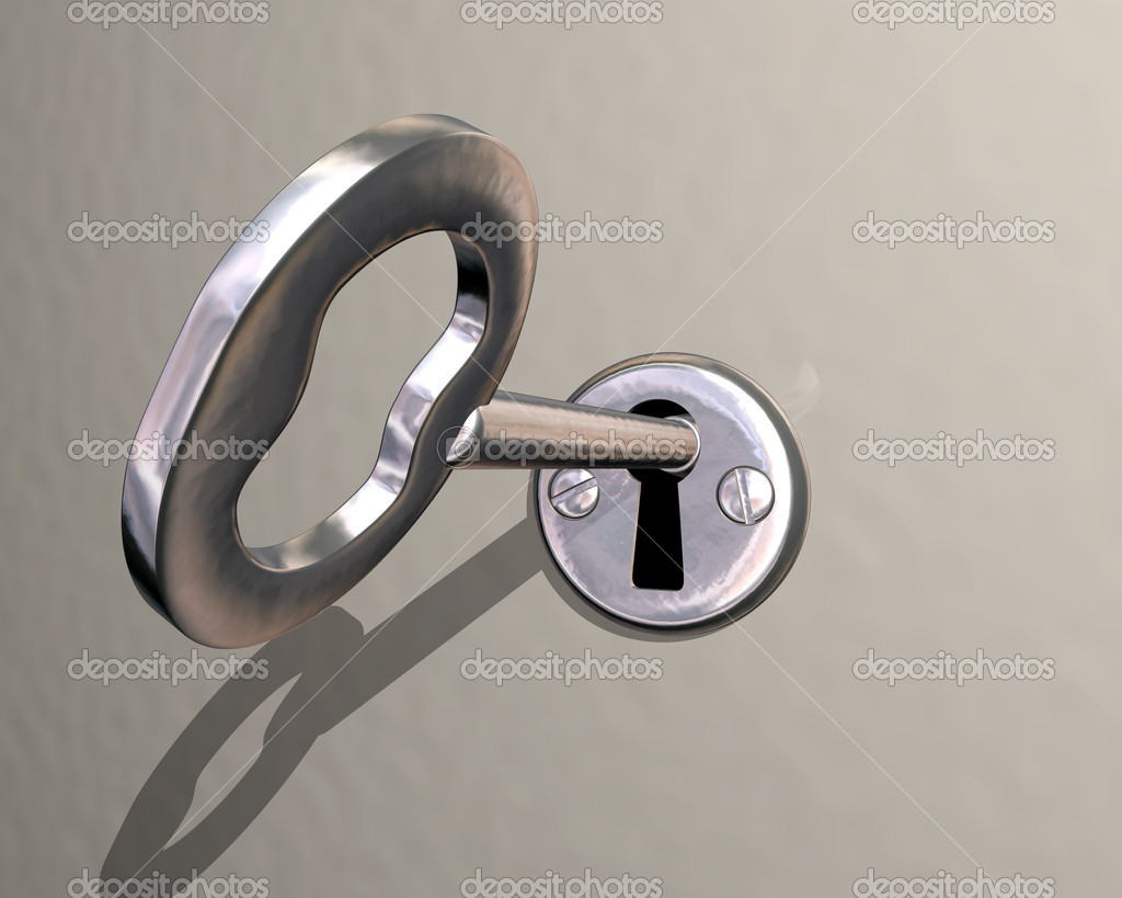 Illustration of shiny silver key being turned in lock — Stock Photo #2234018