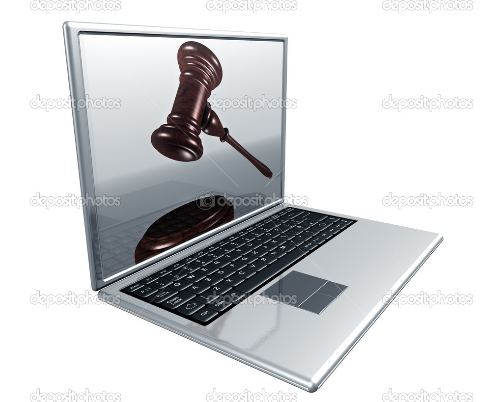 A laptop with a gavel on the screen representing Internet auctions  Stock Photo #2234216