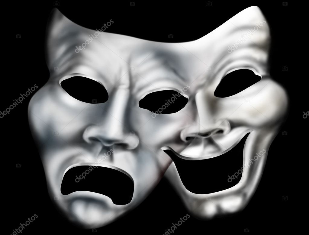 Stylized illustration of two theater masks merged into one — Stock Photo #2234559
