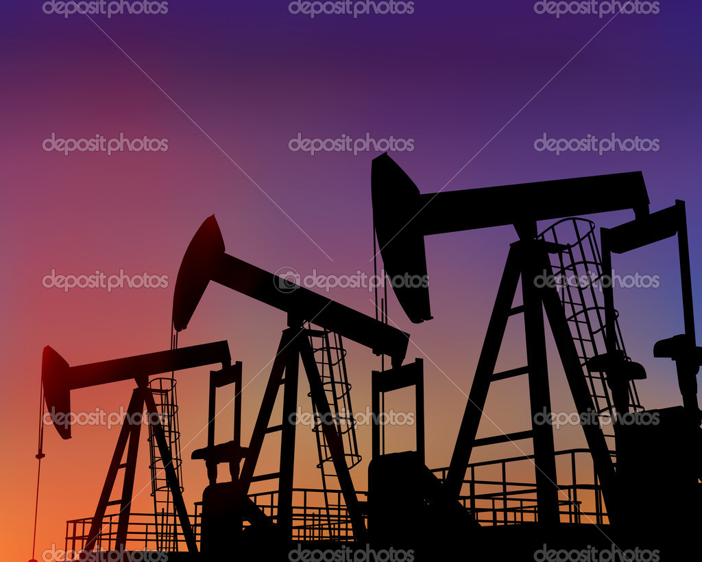 Illustration of three oil wells in the desert at dusk  Stock Photo #2235550