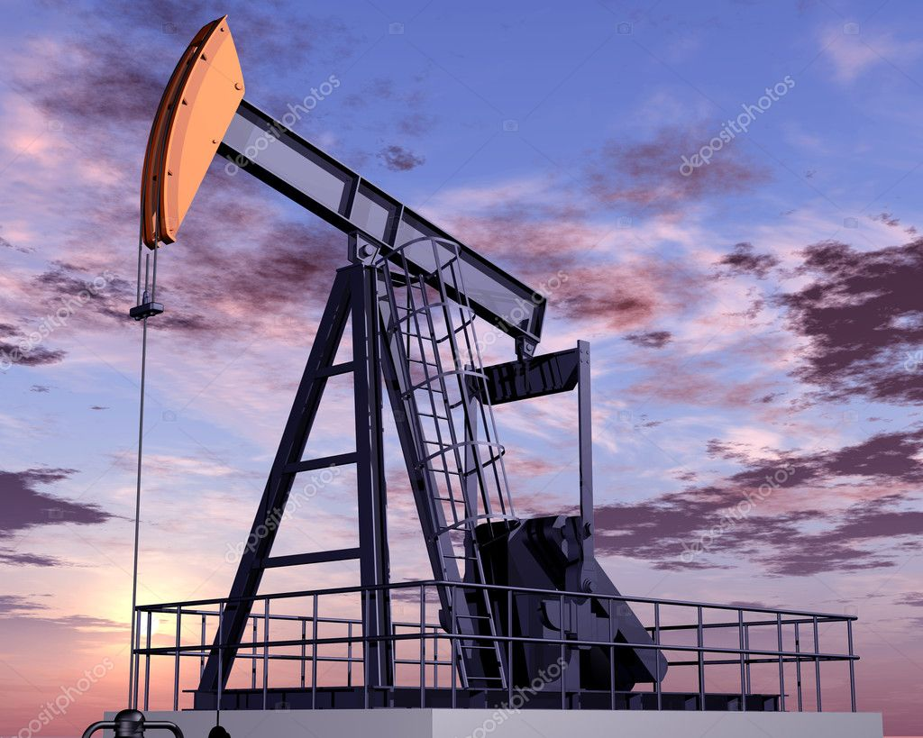 Illustration of an oil rig at dusk  Stock Photo #2235586