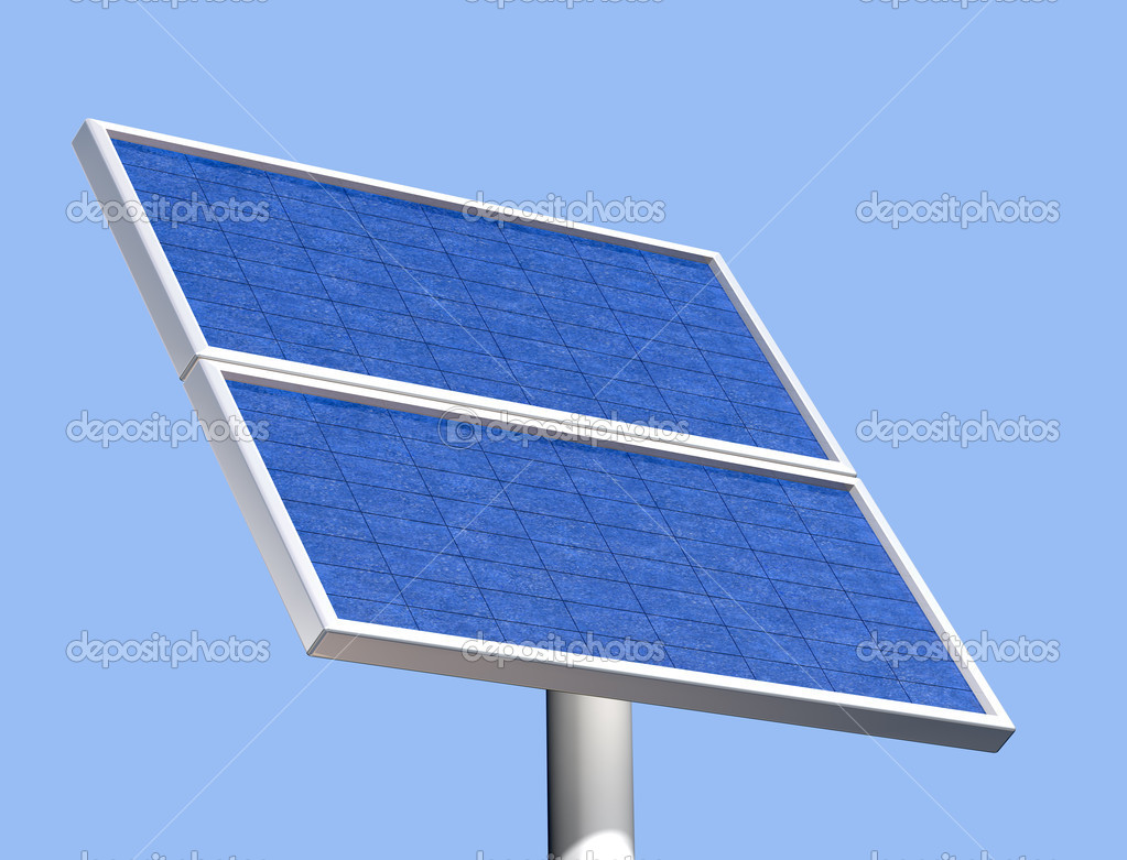 Illustration of a solar panel on a clear summer day — Stock Photo #2236012