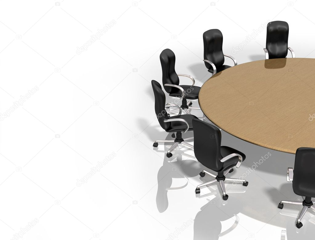 Illustration of a round table surrounded by chairs  — Stock Photo #2239088