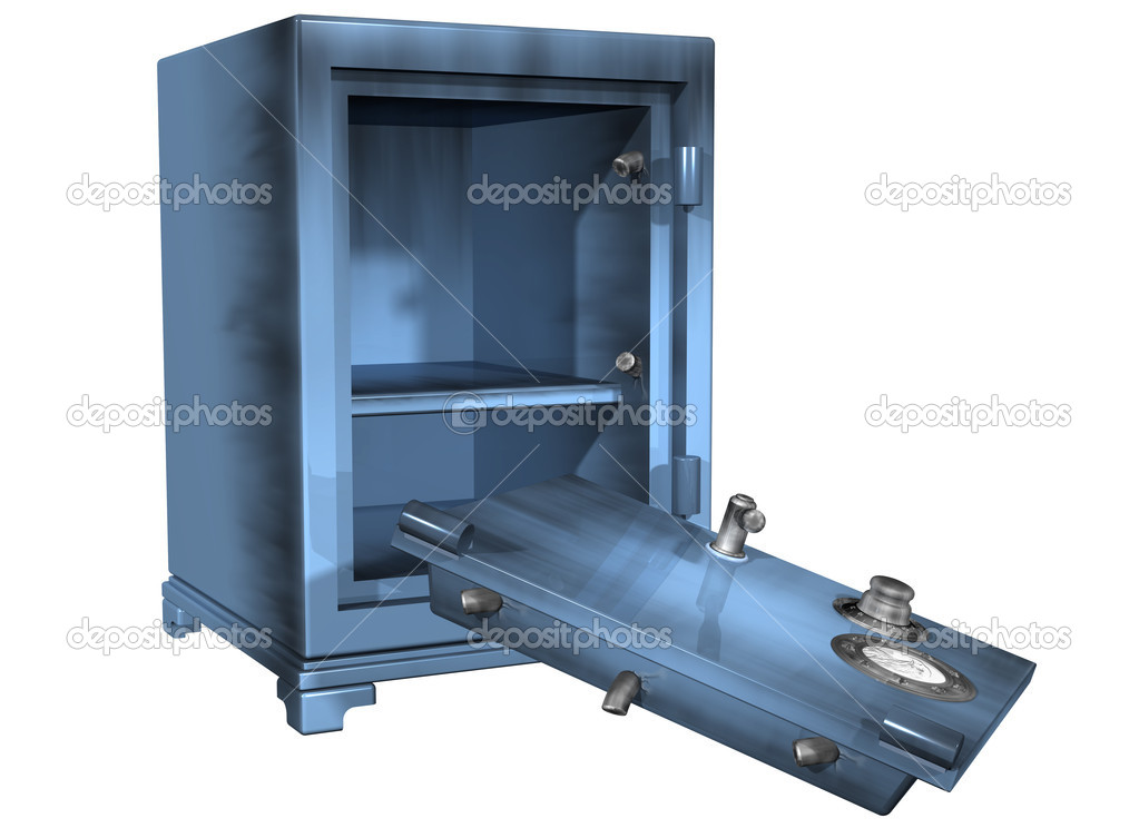 Isolated illustration of a safe that has been broken into — Stock Photo #2239231