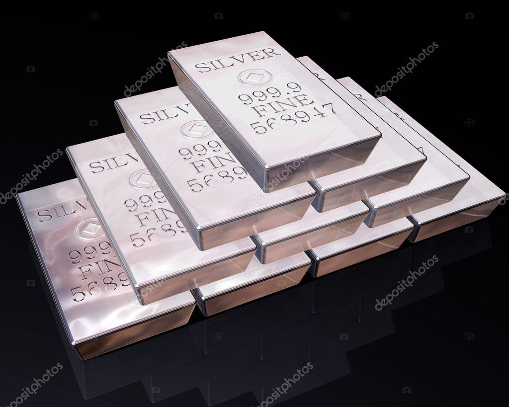 Stack of pure silver bars on a reflective surface.  Stock Photo #2239852