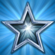 Star on blue background — Stock Photo