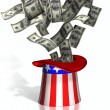 Uncle Sam collecting taxes - Stock Photo