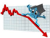 Ceny domów w dół — Zdjęcie stockowe