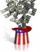 Uncle sam verzamelen belastingen — Stockfoto