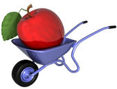 Giant apple in a wheelbarrow — Stock Photo