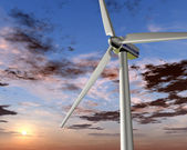 Wind power at sunrise — Stock Photo