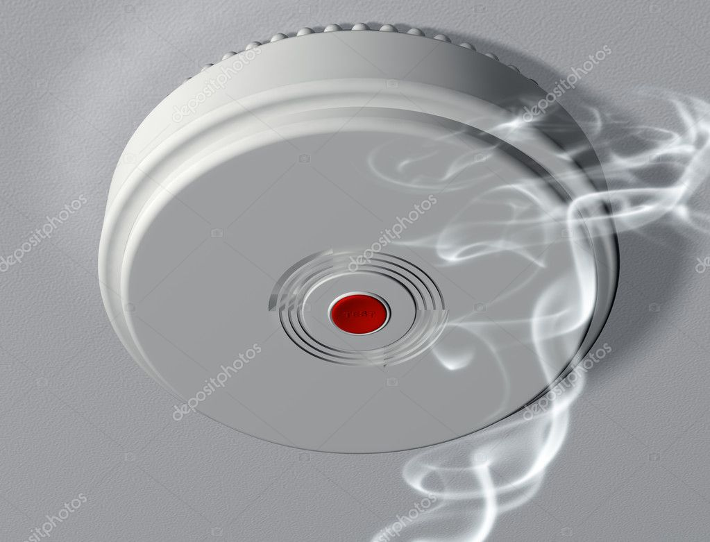 Illustration of a smoke alarm warning of a fire — Stock Photo #2243657