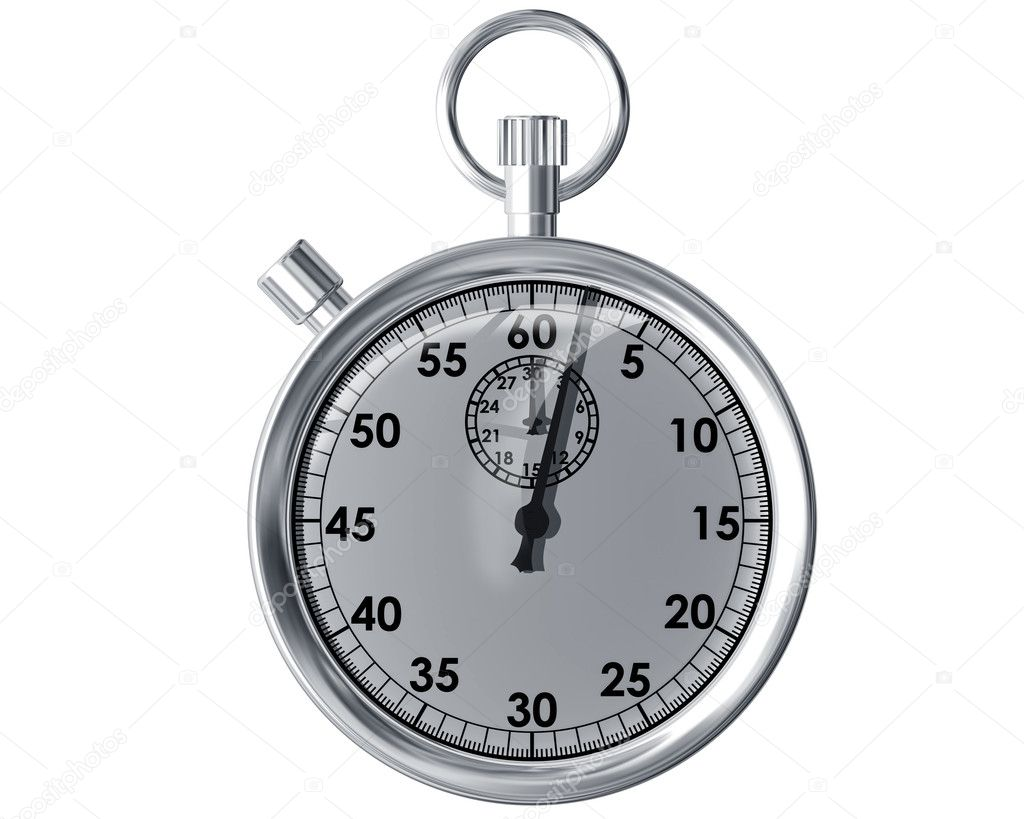 Illustration of an isolated traditional silver stopwatch — Photo #2244262