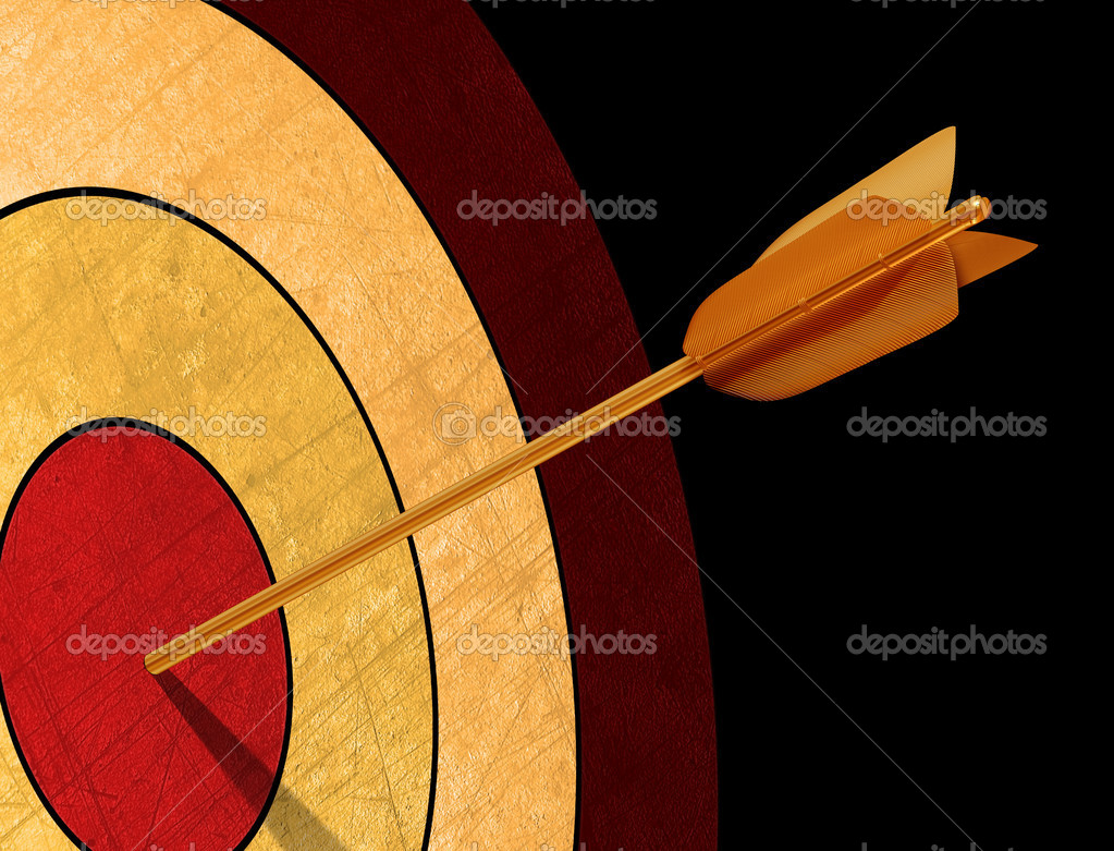 Illustration of a golden arrow hitting its target — Stock Photo #2244580