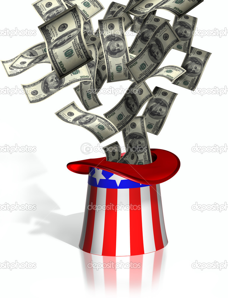 Illustration of money falling into Uncle Sam top hat — Stock Photo #2245402