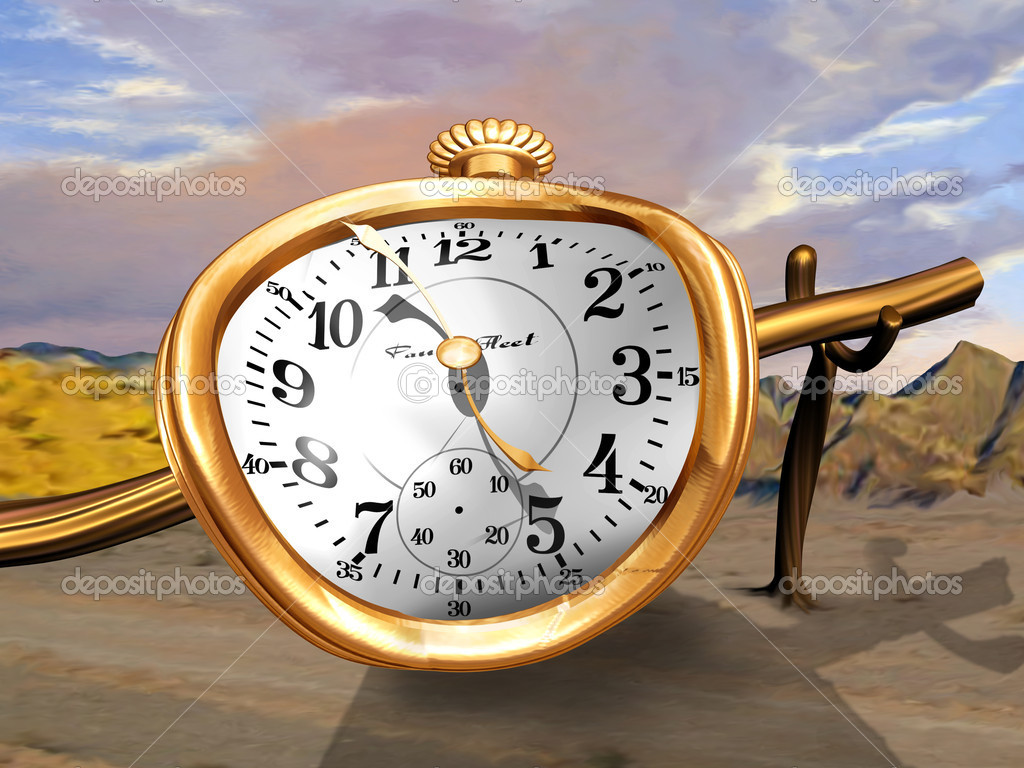 A gold pocket watch bent over a wooden pole  Stock Photo #2245562