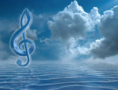 Blue Treble Clef — Stock Photo