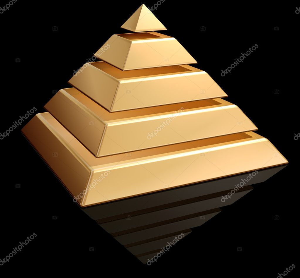 Original illustration of a layered golden pyramid — Stock Photo #2261126