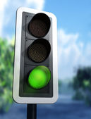 Green traffic light — ストック写真