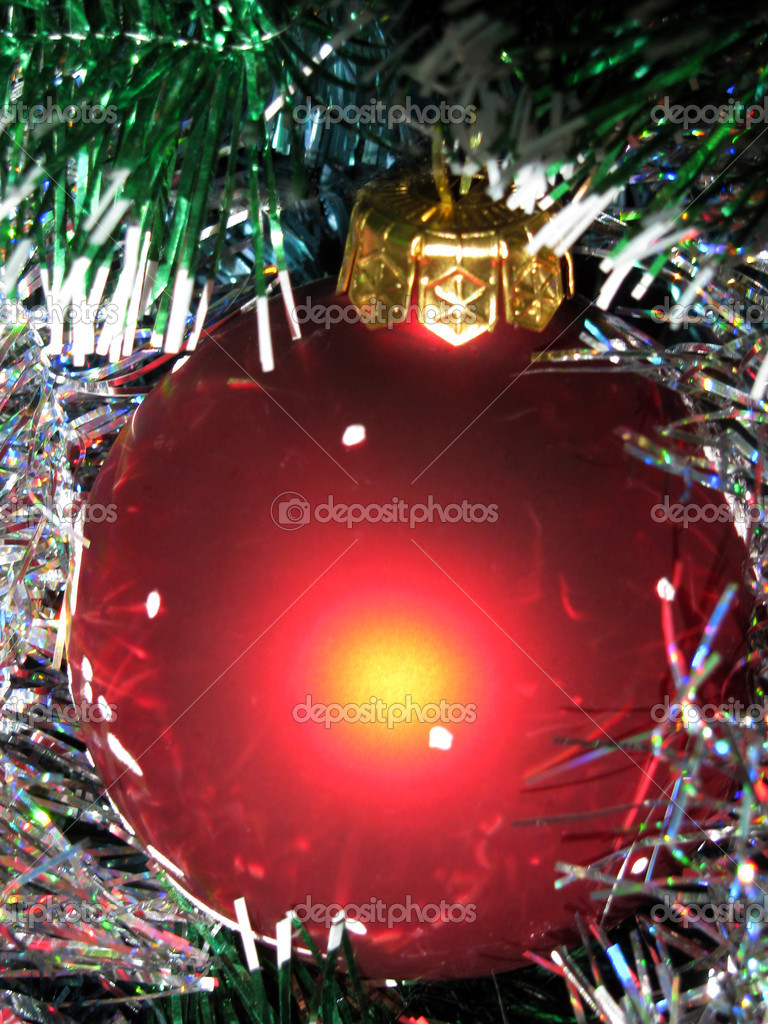 Red shining Christmas tree ball                            — Stock Photo #2227901