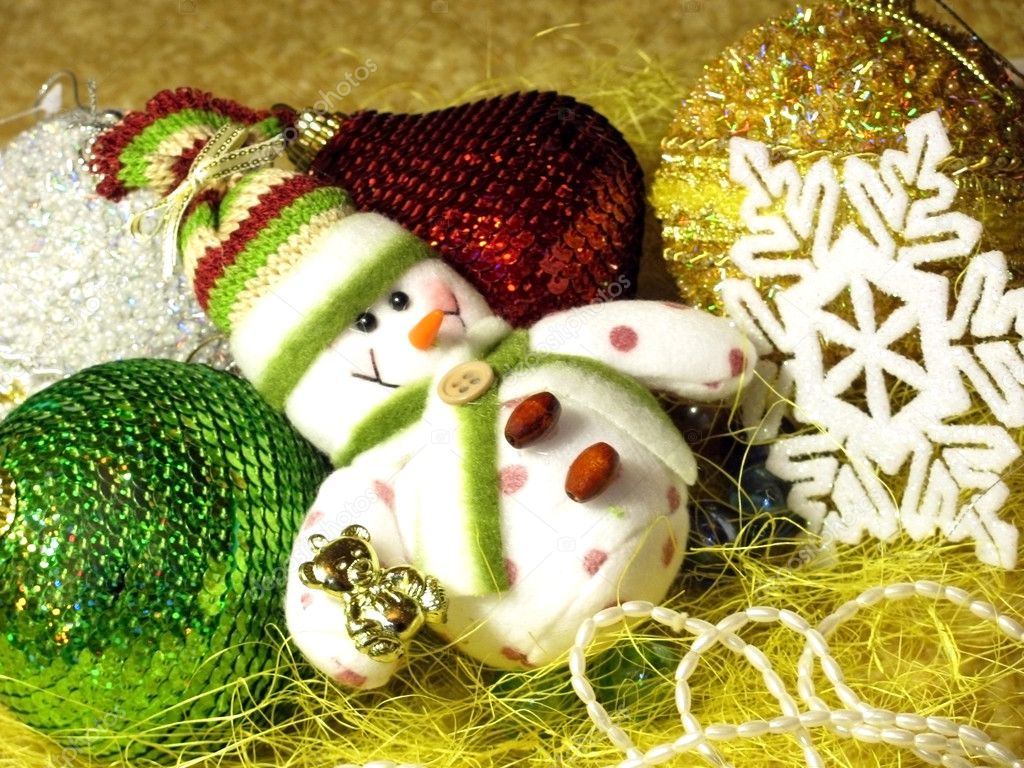Christmas tree decorations: snowman, balls, snowflake, etc.                            — Stok fotoğraf #2227915