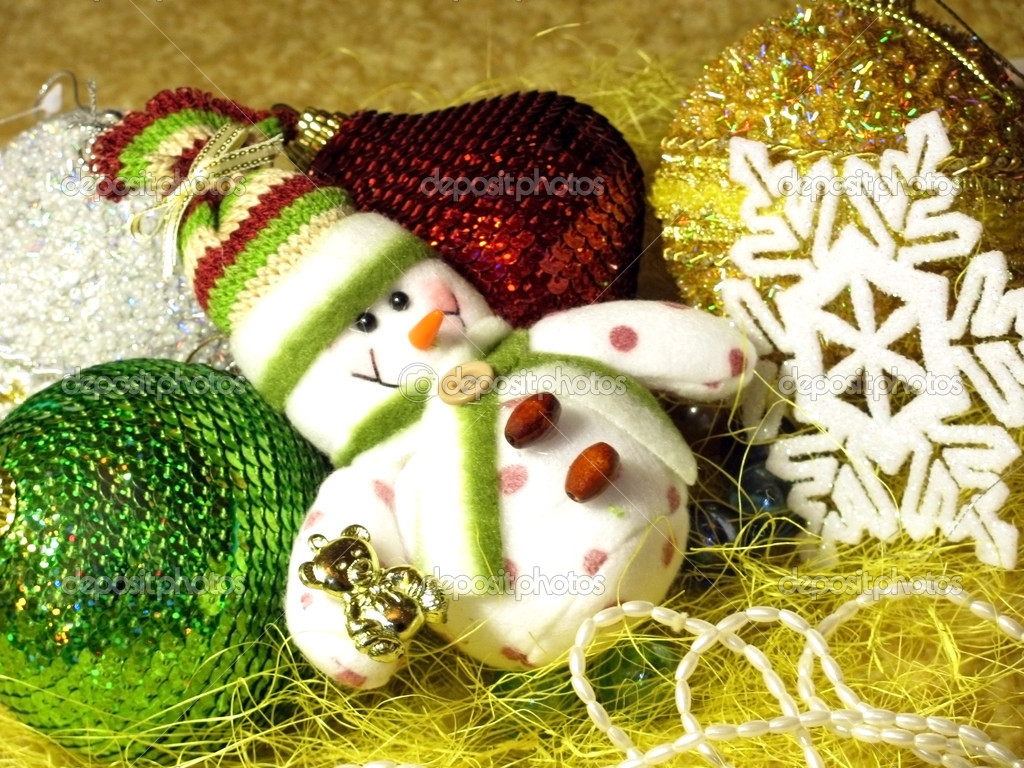 Christmas tree decorations: snowman, balls, snowflake, etc.                            — Stock fotografie #2227915
