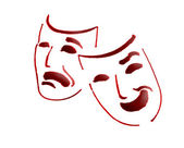 Red theatre masks — Stock Photo