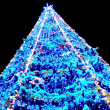 图库照片: Illuminated Christmas tree at night