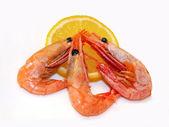 Drei krabben und zitrone — Stockfoto