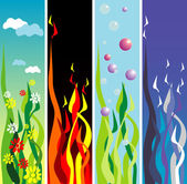 Earth, fire, water, air — Stock Vector