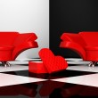 Armchairs with heart — Stock Photo