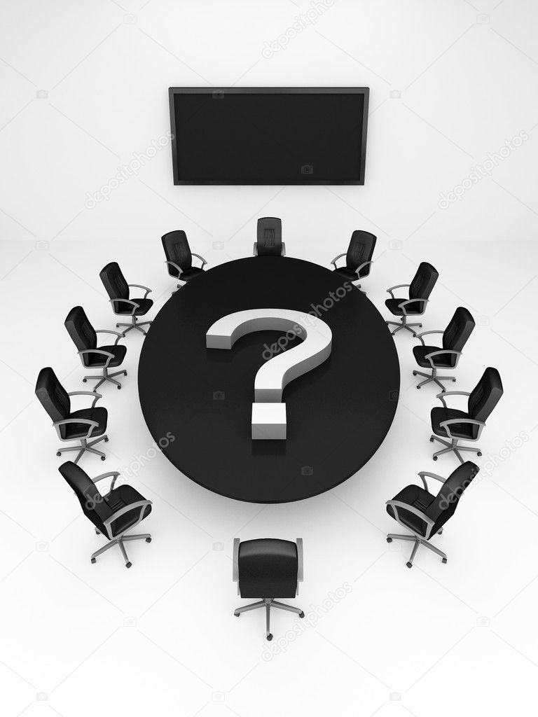 Round conference Table on white - 3d render — Stock Photo #2473947