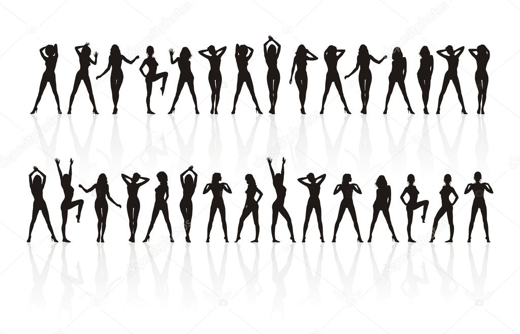 Thirty silhouettes of girls of black colour. They are located in two ranks. At each figure the movement. — Stock Vector #2215104