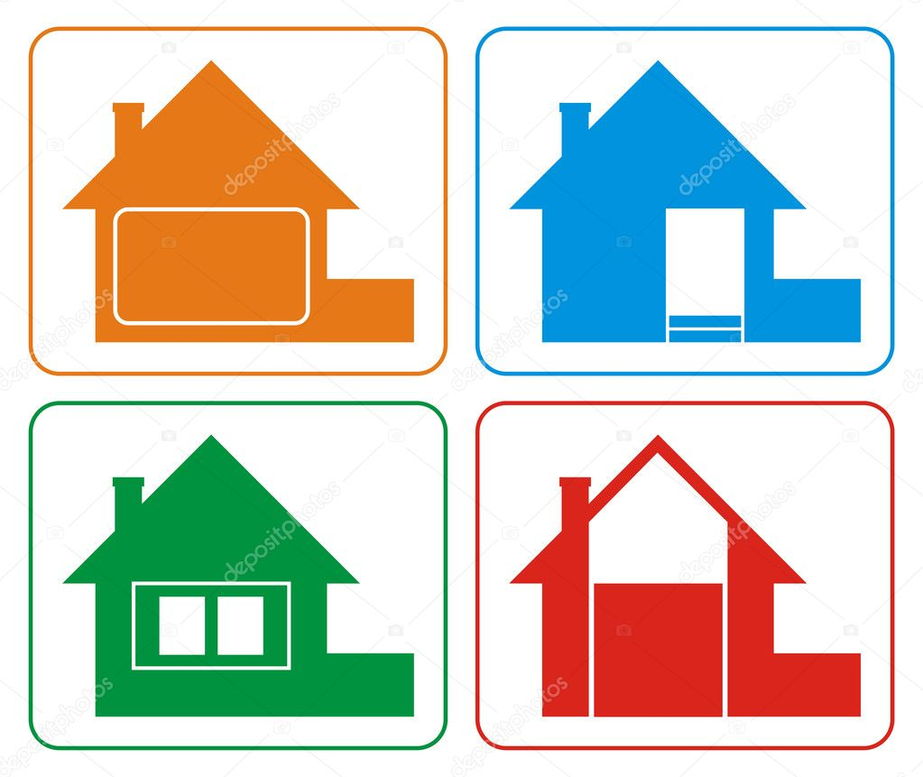 Logo of the house of different colours. Houses have a roof, a pipe, a door, windows and a fence. Each house has certain colour. Logos are stylised and simplifie  Stock Vector #2216839