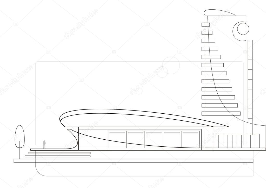 The drawing of a modern architectural complex. In the foreground modern art gallery. Behind it there is a business centre. — Stock Vector #2217812