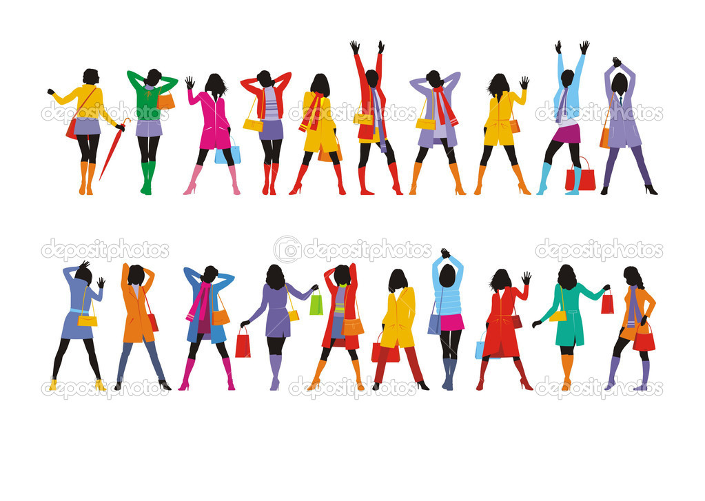 Composition with female figures. Twenty figures are dressed in bright winter clothes. They are located on a white background. — Stock Vector #2219948