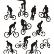 Stock Vector: Silhouettes of bicyclists