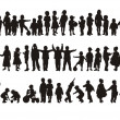 Silhouettes of happy children - Vettoriali Stock 