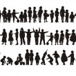 Silhouettes of happy children — Imagen vectorial