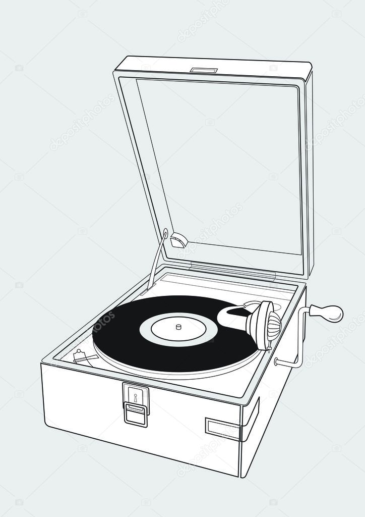 The drawing of an old player of vinyl disks. It consists of lines of various width. On a player the old disk lies.  Stock Vector #2220264