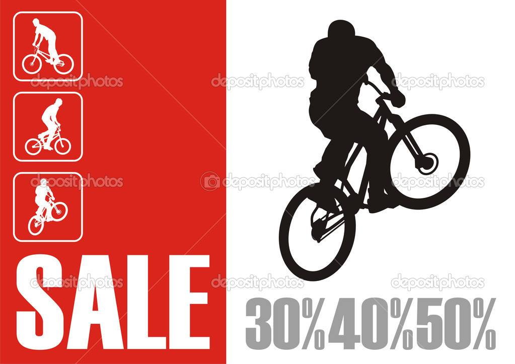 Modern composition with the bicyclist. In the centre the silhouette of the bicyclist is located. Nearby there is a red rectangle with inscription SALE. — Stock Vector #2222457