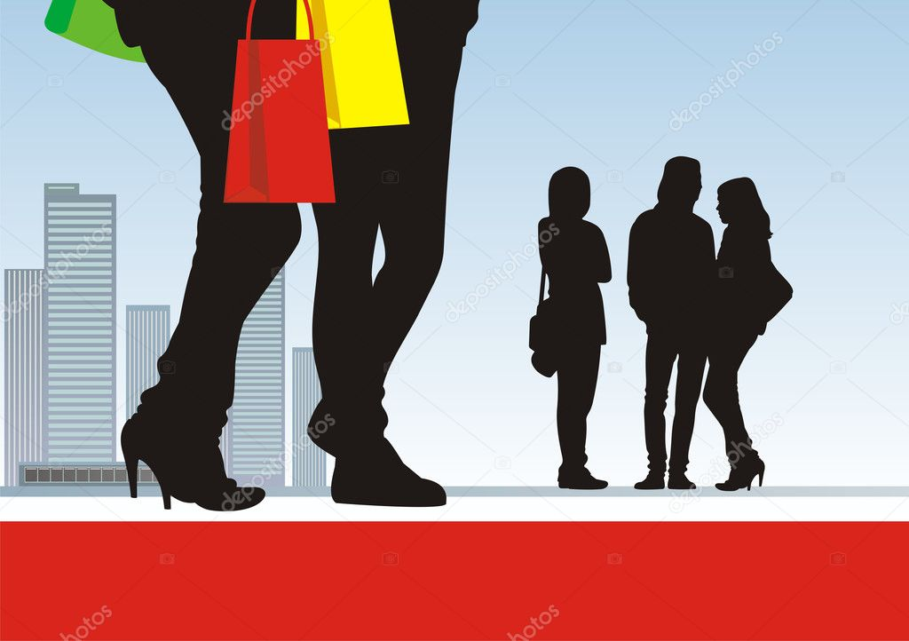 In the illustration centre two pairs feet and bright packages are located. Near to them there are three figures of teenagers. On a distance shot there is a city — Stock Vector #2222700