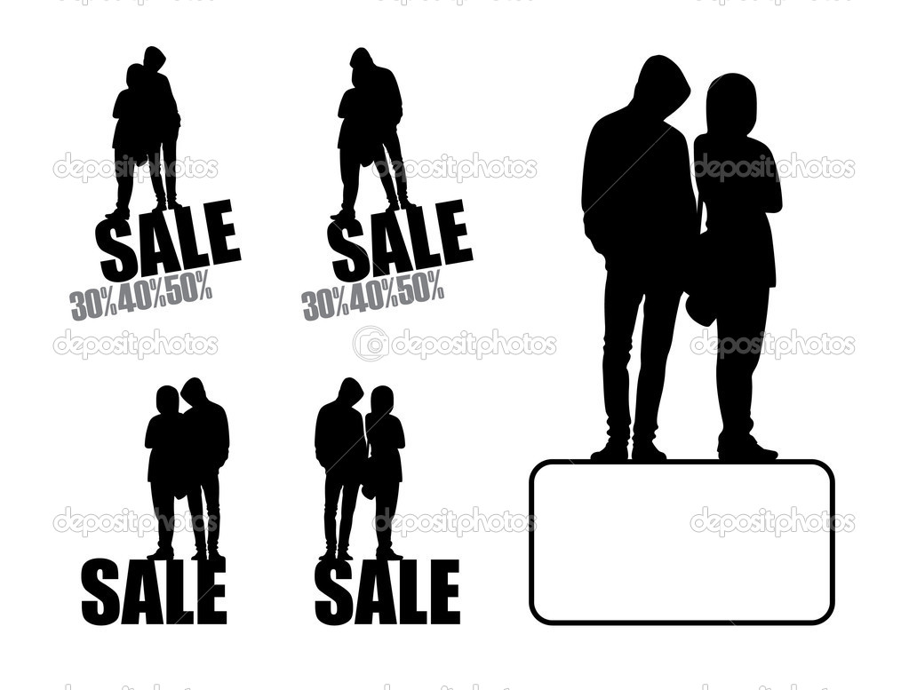 On a white background five compositions with silhouettes of teenagers. Four compositions with inscription SALE. Near to them the big composition.  Stock Vector #2222799