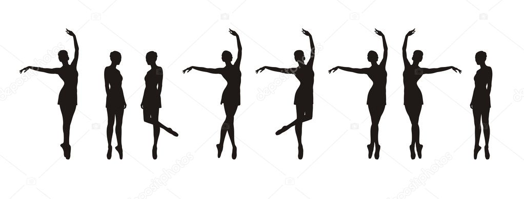 Composition with silhouettes of ballerinas. Eight black silhouettes in different movements. They are located on a white background.  Stock Vector #2222846